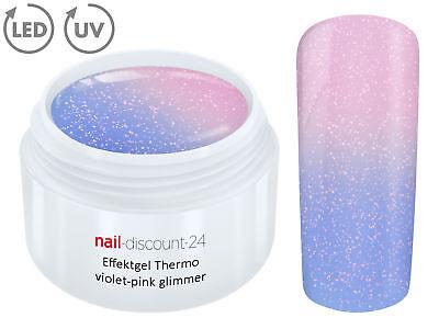 THERMO Color UV LED Gel VIOLET-PINK GLIMMER Farb Wechsel Effekt Nail Art Design