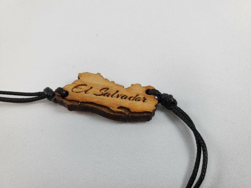 El Salvador Bracelet Leather & Wood Handmade Handcraft Pulsera Hecho A mano