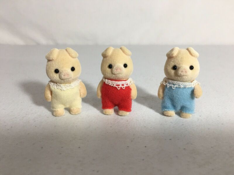 Calico critters/sylvanian families Grunt Pig Baby Triplets