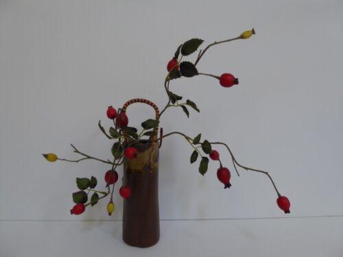 "Japanese Ceramic Vase 5.75"" H Cylinder Shape W/Rattan Handle/ Made in Japan"