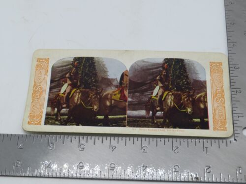"""Vintage Stereoview Card Sioux Indian Chief With Revolver Gun """"He-No-Fraid"""" P6"""