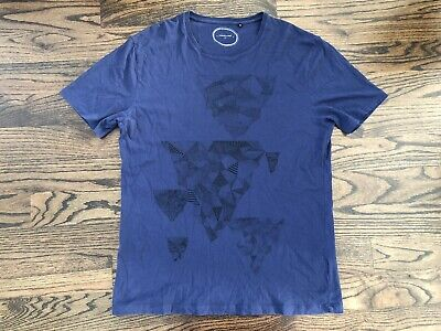 COMMUNE DE PARIS Blue Geometric Abstract Designer Escher Artwork T-Shirt Sz XL