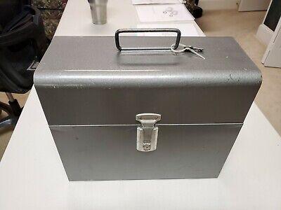 Vintage Amfile Metal File Box With Working Lock 1 Key 10-38h 12-12w 5-12d