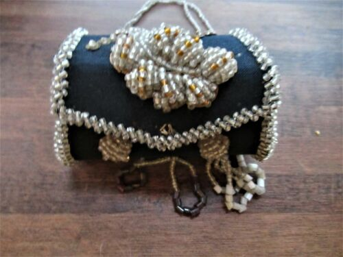 Medium Iroquois Beaded Whimsy Lined Pouch/Purse c.a. 1900 Beaded Carrying Strap