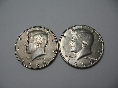 """1989 D Kennedy Half Dollar Denver Mint US Mint """"Circulated"""" 2 Coins for sale"""