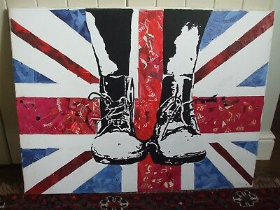 Large Original Punk Art Collage and Acrylic Union Jack DM Boots Painting Canvas