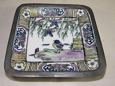 Vintage ACF Japanese Enamel Porcelain Ware in Lead Bowl-Dish Asian-Oriental Bird