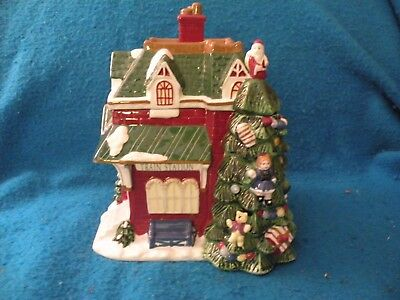 "Spode "" Christmas Tree Village"" Train Station Cookie jar 2002"