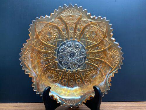 Vintage Carnival Marigold Glass Bowl Saw Tooth Rim Pressed Floral Design