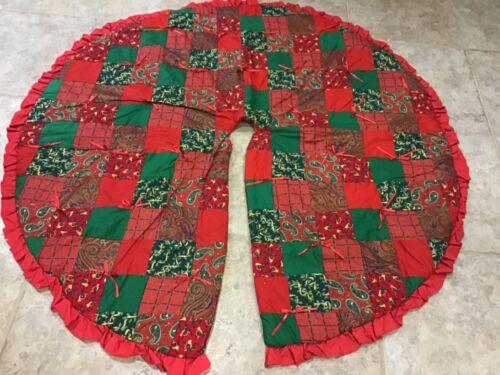 "Vintage Handmade Quilted Patchwork Christmas Tree Skirt 59"" Holiday Santa Xmas"