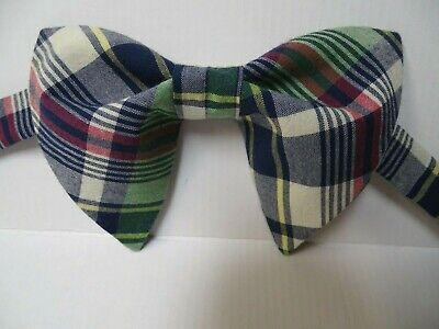 NEW Handmade Mens Plaid Bow-tie-Vintage-style-70s Navy/Green Madras Check Madras Bow Tie