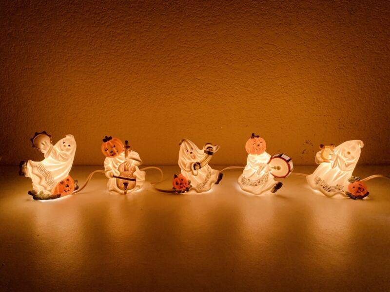 Vintage Halloween Ghosts And Pumpkins Lighted Tabletop String