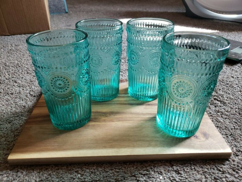 Pioneer Woman 4 16-Ounce Emboss Glass Tumblers Blue Green 6 in Drinking Glasses