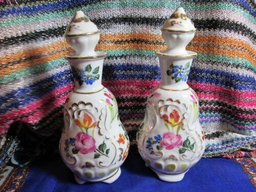 Pair Floral Hand Painted Limoges Vintage Vanity Perfume Bottles With Stoppers