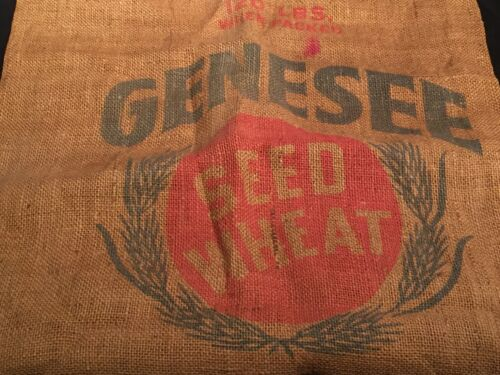 Genesee Seed Wheat Burlap Sack Treated w/ Poison Skull Crossbones Grain Bag Farm