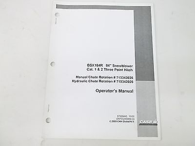 Case Ih Bsx184r 84 Snow Blower Cat 1 2 Three Point Hitch Operators Manual