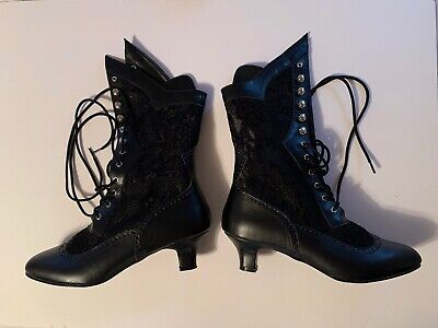 Black Lace Up Victorian Steampunk Halloween Costume Low Boots Women's Shoes
