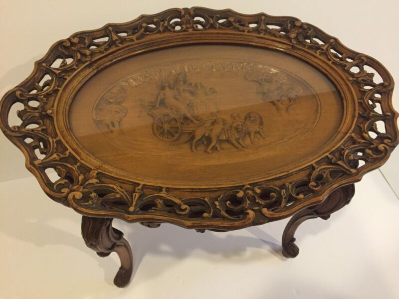 Antique Figural Carved  Coffee Table w/ Chariot & Lions Tray Glass Top c. 1930