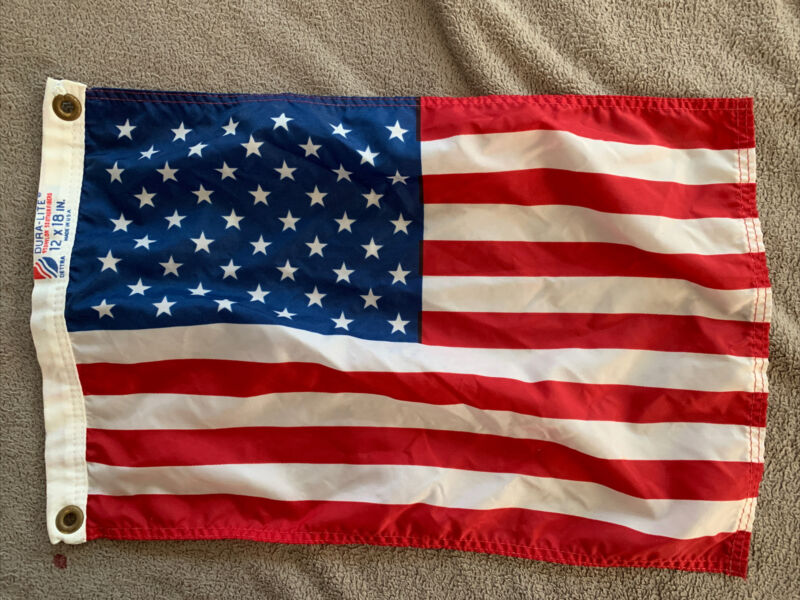 Vintage Dura-Lite Yacht Ensign American Flag 12 X 18 Inches EUC