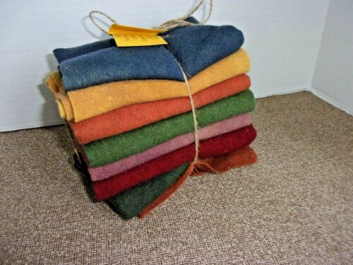 """Recycled WOOL FABRIC Hand Dyed 8 Pieces 7"""" x 25"""" Prewashed"""