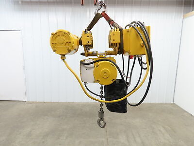 Yale 1 Ton 2000lb Electric Chain Hoist 3ph 230460v 12 Lift With Power Trolley