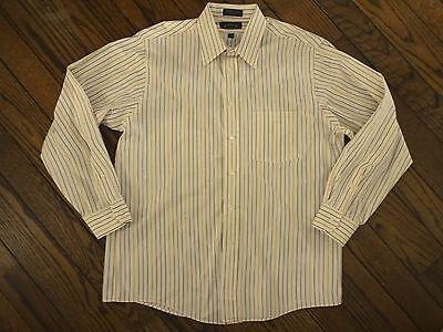 Arrow Blue Wrinkle Free Beige Striped Dress Shirt         Size 16 - (Arrow Striped Dress Shirt)