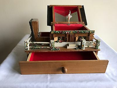 Vintage Wooden Chalet Musical Jewelry Box with Ballerina