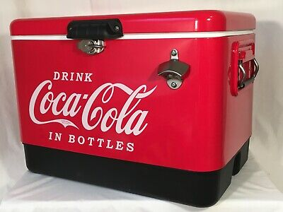 Chest Cooler 54 Quart Ice Box Coca Cola Stainless Steel Outdoor Picnic Camping