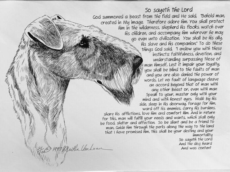 Irish Terrier Poem Print 11x17 By Van Loan