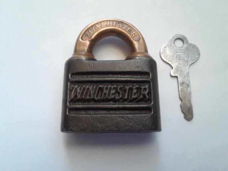 Original Winchester push key lever padlock, lock  with key