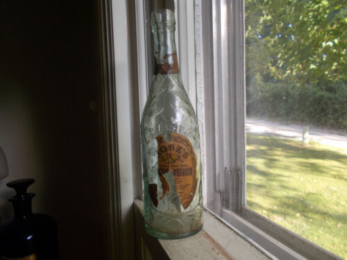 """1890 ORIGINAL L.ROSE & CO EMB & LABEL LIME JUICE BOTTLE SMALL SIZE 7 7/8""""TALL"""