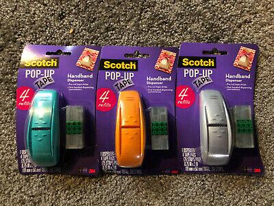 Lot Of 3 Scotch 3m Pop Up Tape Handband Dispenser W 4 Refills 900 Strips Pads
