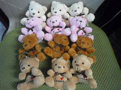 New !  3PK Plush Teddy Bear Heart KeyRing Key Chain Loveyou Size: 4
