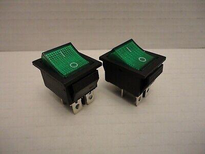 2 Pcs Lot Pack Kcd4 16a 250v Ac 20a 125v Green Light Rocker Boat Switch 4 Pins