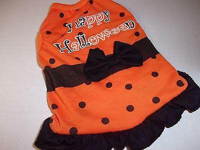 Orange Dot HAPPY HALLOWEEN BOW Tank Shirt dog costume pet new puppy S Small - Happy Halloween Hunde Kostüm