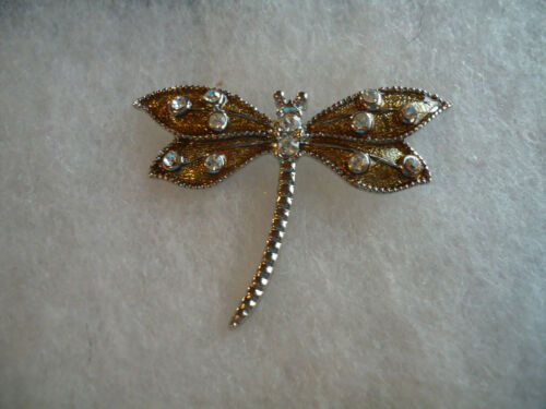 Vintage/nos silver tone enamel rhinestone Dragonfly pin