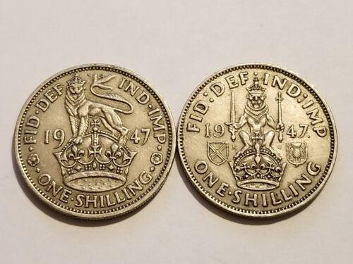 1947 England - 1 Shilling - George VI - English & Scottish Crest (2 Coins)
