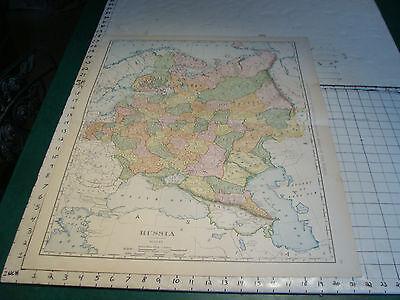 "Vintage Original 1898 Rand McNally Map: RUSSIA aprox 28 x 21"""