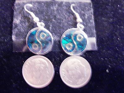 bling silver plated abalone paua shell myth fashion yin yang dangle ear ring ep