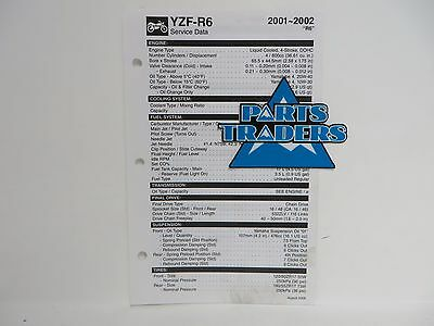 Genuine Yamaha Quick Reference Service Manual Spec Data Sheet YZF-R6 2001-2002