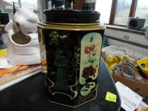 Vintage octagonal black & gold Asian Geisha & flowers tin with screw top lid