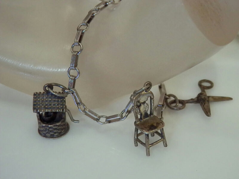 Vintage 40s- 50s Beau Sterling Chair Scissors Wishing Well Charm Bracelet 1055D4