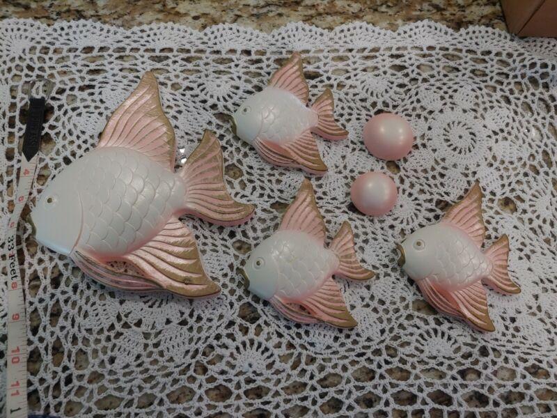 Ceramic Angel Fish Wall Hanging Shelf Decor mid century Perfect pink  lot of 5