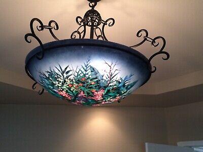 "Ulla Darni Original Reverse Hand Painted Glass Chandelier- 24"" - ""Moonscape"""