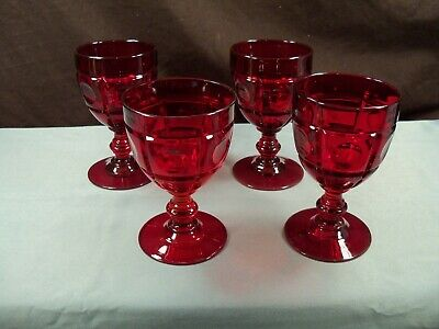 Set of 4 Fenton Ruby Red Glass PLYMOUTH Water Goblets Glasses Block & -