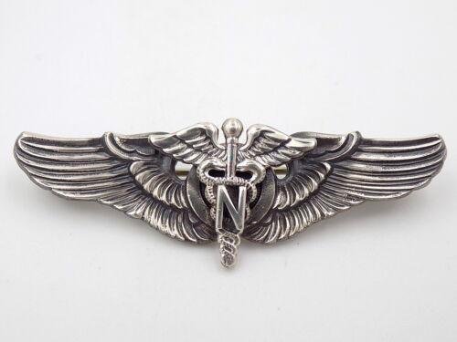 "Vintage WWII US Army Flight Nurse 2"" Wings - Sterling Silver - NS Meyer"