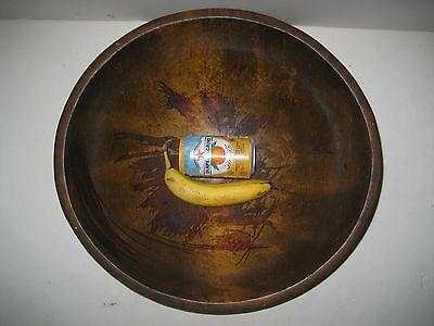 "Vintage Large Wood Oval Dough Bowl 17 3/4"" x 16 5/8"""