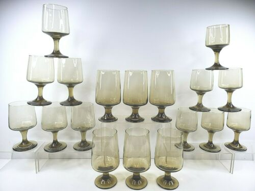 18 Libbey Tawny Accent Vintage Smoke Brown Iced Tea Water Goblet Wine Glass Set