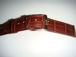 18mm Omega Brown Leather Band with Rose Gold Buckle