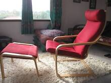 Poang chair and footstool, red covers Duncraig Joondalup Area Preview
